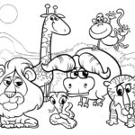 wild animals cartoon coloring page