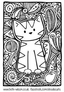 mandala gato niños colorear