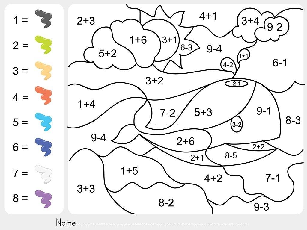 ballena pintar por numeros